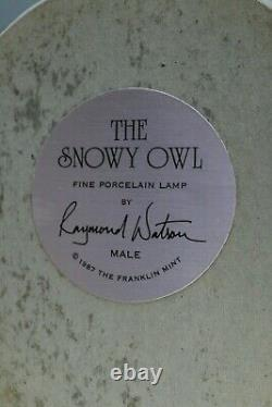 Franklin Mint Porcelain Male Snowy Owl Table Lamp Figure