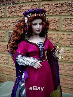 Franklin Mint Porcelain Morgana Le Fay Doll Original Box