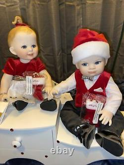 Franklin Mint Porcelain Portrait BABY Christmas Dolls Naughty And Nice-Beautiful