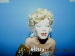 Franklin Mint Porcelain Portrait Doll Love Marilyn On A White Satin Bench W COA
