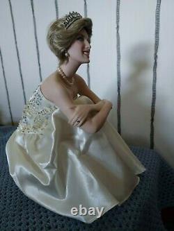 Franklin Mint Porcelain doll, Portrait of a Princess, Diana, Seated on a Cushion