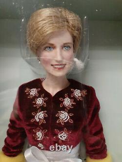 Franklin Mint Princess Diana Doll Loveliness Porcelain 17 Maroon Velvet LE