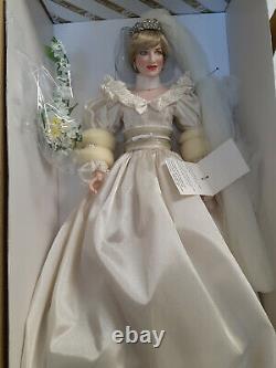 Franklin Mint Princess Diana Doll Porcelain Wedding/Bride Doll NEW