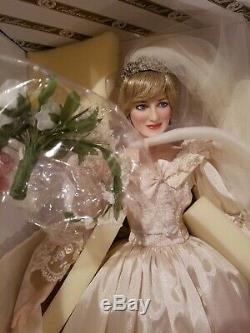 Franklin Mint Princess Diana Doll Porcelain Wedding Bride Wales collectible rare