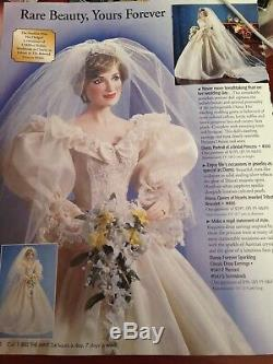 Franklin Mint Princess Diana Porcelain Bride/Bridal Doll NRFB WithCOA
