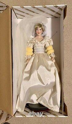 Franklin Mint Princess Diana Porcelain Doll Wedding/Bride Limited Edition+COA