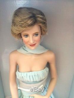 Franklin Mint Princess Diana Porcelain Portrait Doll Blue Cannes Festival Dress