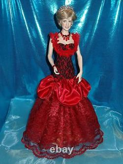 Franklin Mint Princess Diana Porcelain red gown dress accessories only NO DOLL