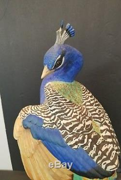 Franklin Mint Royal Society Protection of Birds Peacock Figure Porcelain Statue
