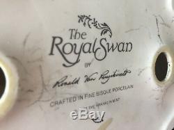 Franklin Mint Royal Swan White Bisque Porcelain Figurine, Ronald Van Ruyckevelt