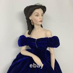 Franklin Mint Scarlett OHara Doll Portrait Dress Porcelain Blue Velvet Dress