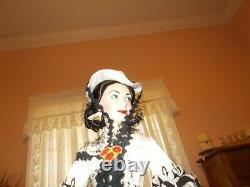 Franklin Mint Scarlett OHara Porcelain Doll Black & White Dress 1994 22 NOS