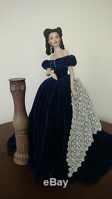 Franklin Mint Scarlett O'hara Porcelain Portrait Doll Velvet, Box