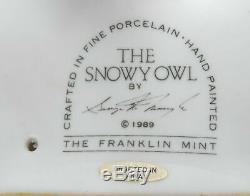 Franklin Mint, Snowy Owl Figurine By George Mcmongle. 1989, Fine Porcelain, Min