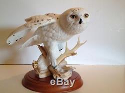 Franklin Mint Snowy Owl George McMonigle 1989 Porcelain Figure Pristine