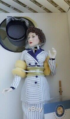 Franklin Mint Titanic Rose Boarding Scene Blue Stripe Porcelain Doll NIB/COA