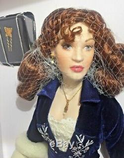 Franklin Mint Titanic Rose Flying Scene Blue Velvet Dress Porcelain Doll NIB/COA