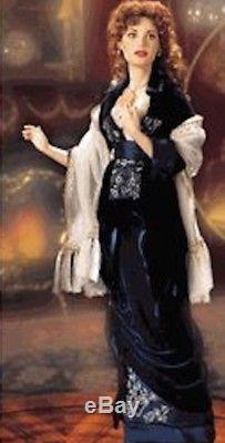 Franklin Mint Titanic Rose Flying Scene Blue Velvet Dress Porcelain Doll NIB/COA