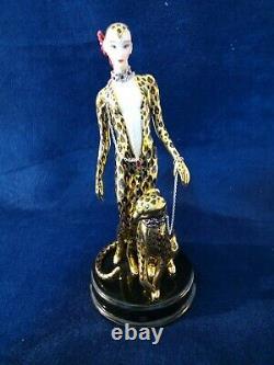 Franklin Mint VTG Erte Art Deco w Leopard Porcelain Figurine