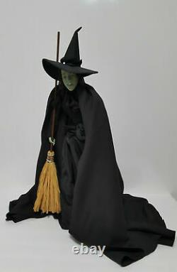 Franklin Mint Wizard Of OZ Wicked Witch Heirloom Porcelain Doll WithBroom & Hat