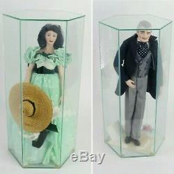 GWTW Scarlett O'Hara & Rhett Butler 19 Franklin Mint Porcelain DOLLS with Papers