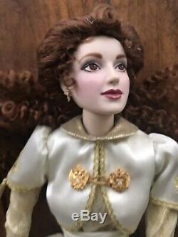 Gorgeous Franklin Heirloom Sonya Faberge Fall Bride Porcelain Doll With Stand