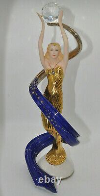 Gorgeous Franklin Mint Galaxy In Gold Fine Porcelain Art Deco Style Sculpture
