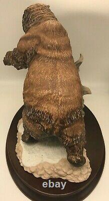 Grizzly Bear Statue Figurine with Base 1988 Porcelain Franklin Mint w COA MSRP 295
