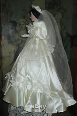 Gwtw Franklin Mint Gold Standard Series Porcelain Scarlett Bride Doll Coa Box