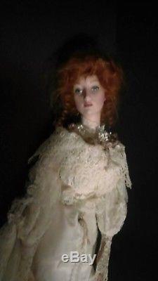 HAUNTEDFranklin Mint Heirloom Gibson Girl Victorian Porcelain Bride Doll 21