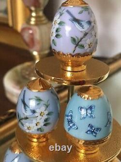 House Of Faberge Handpainted Porcelain Eggs Display Stand Sapphire Garden