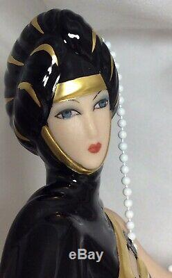 House of Erte Pearls and Emeralds New Porcelain Figurine By Franklin Mint
