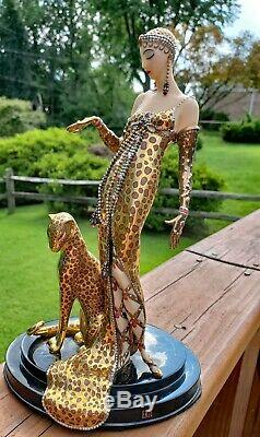 House of Erte Porcelain Sculpture Ocelot By Franklin Mint Limited Edition A5784