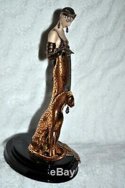 House of Erte Porcelain Sculpture Ocelot by Franklin Mint