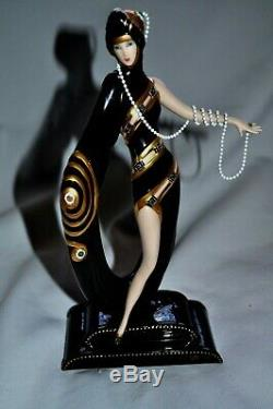 House of Erte Porcelain Sculpture Pearls and Emeralds by Franklin Mint