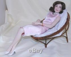 Jackie Kennedy Franklin Mint Porcelain Lounging Portrait Doll & Chair