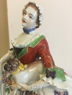 Lady Of The Order Of The Pugs Dresden Porcelain Figurine