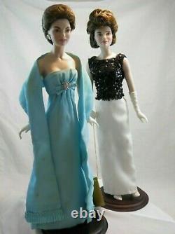 Lot-2 Franklin Mint Jackie Kennedy Porcelain Black/White Gown Newport Gala 15