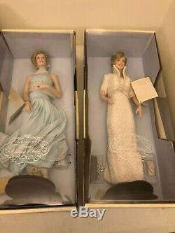 Lot Of 2x Franklin Mint Princess Dianna 17 Porcelain Doll Set White/blue Dress