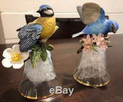 Lot of 12 Franklin Mint Porcelain & Crystal Bird Bell by Peter Barrett 24K Gold