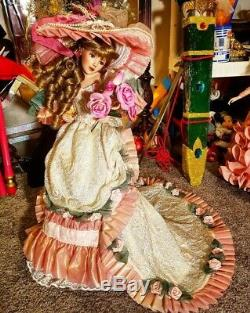 MARYSE NICOLE BLUSHING ROSE Franklin Mint Heirloom porcelain Victorian Doll 20