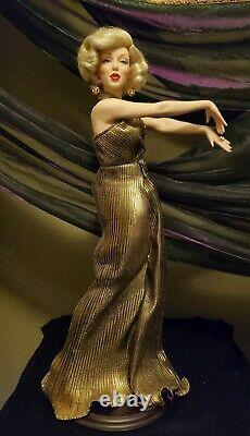 Marilyn Monroe Gold Dress Porcelain Doll from The Franklin Mint with stand