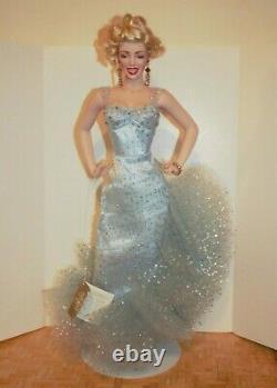 Marilyn Monroe Porcelain Franklin Mint Doll Light Blue Shimmery Dress withFREE MUG