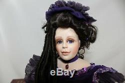Maryse Nicole Porcelain Doll Franklin Mint Heirloom Limited Edition Purple Dress