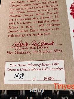 NEW IN BOX Franklin Mint 1998 UK PRINCESS DIANA Porcelain Doll Christmas Love
