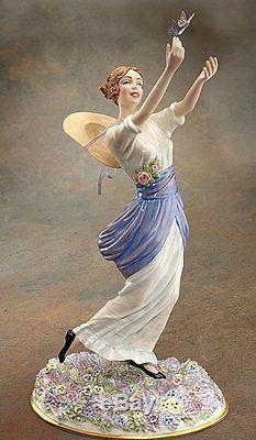 NIB FRANKLIN MINT Porcelain Gibson Girl Chasing Butterflies 1915 Harpers Bazaar