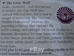 NIB WOLF PORCELAIN + WOOD BASE 11 1/2 x 9 1999 Price Was $295 FRANKLIN MINT