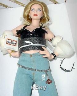 Nrfb Franklin Mint Harley Davidson Porcelain Doll Candy + Coa Nib