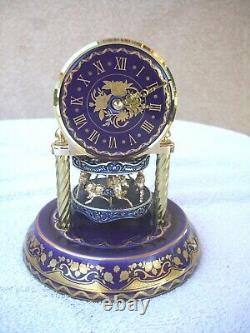 Original Work of Art Anniversary Cobalt Blue Porcelain Clock by Franklin Mint
