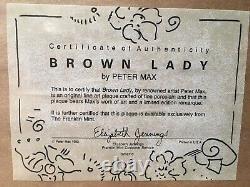PETER MAX'Brown Lady' PORCELAIN PLAQUE, 1992 ISSUE, COA, Franklin Mint